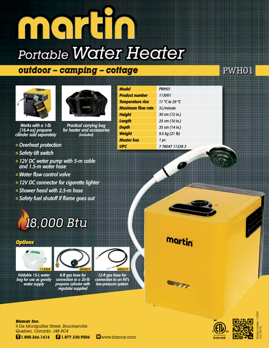 Martin PWH01 portable water heater brochure from The Cabin Depot