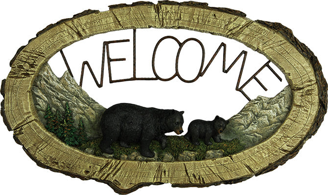 Bear Pine Tree Welcome Sign  The Cabin Depot- The Cabin Depot Off-Grid Off Grid Living Solutions Cabin Cottage Camp Solar Panel Water Heater Hunting Fishing Boats RVs Outdoors