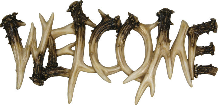 Deer Antler Welcome Plaque Leisure Rivers Edge- The Cabin Depot Off-Grid Off Grid Living Solutions Cabin Cottage Camp Solar Panel Water Heater Hunting Fishing Boats RVs Outdoors