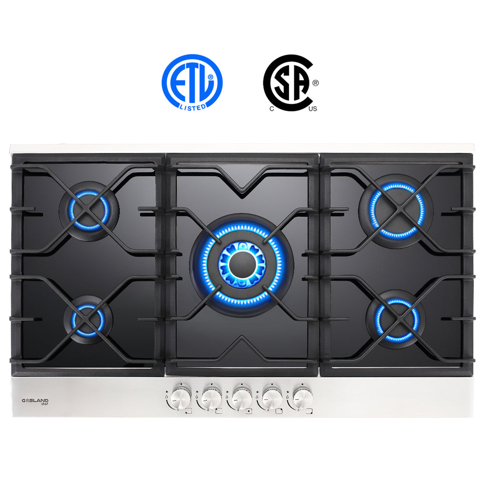 GaslandChef 36'' Black Tempered Glass Cooktop (LPG/Natural Gas)