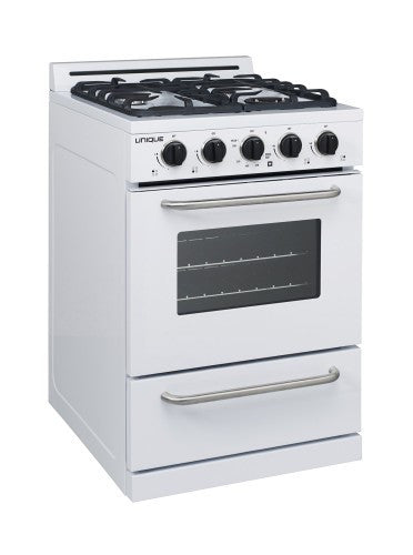 "UNIQUE Classic 24"" Propane Range - White + Window"