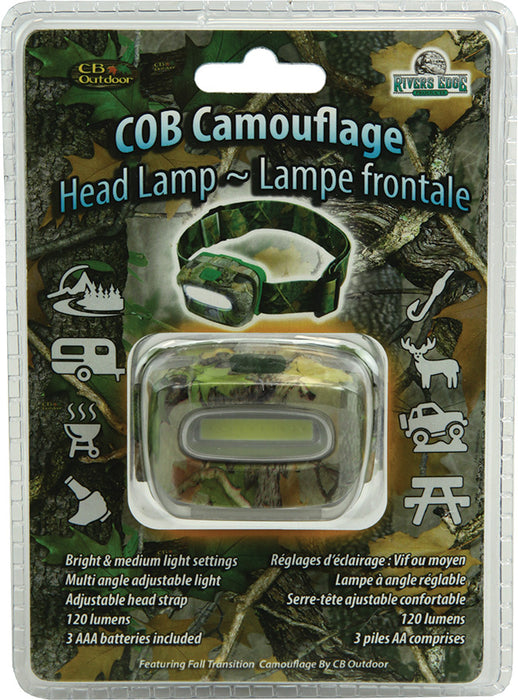 Camo Headlamp 3-AAA Leisure Rivers Edge- The Cabin Depot Off-Grid Off Grid Living Solutions Cabin Cottage Camp Solar Panel Water Heater Hunting Fishing Boats RVs Outdoors
