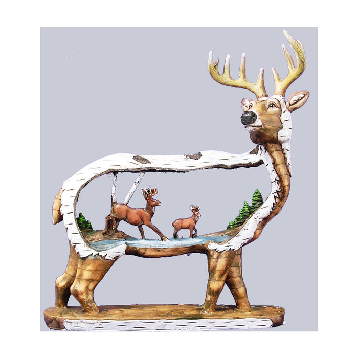 Carved Standing Deer Figurine