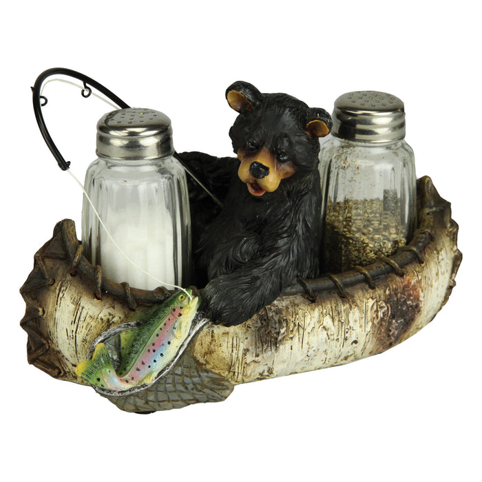 Salt and Pepper Shakers - Fishing Bear