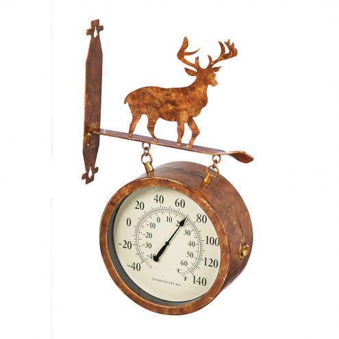 2-Sided Deer Outdoor Wall Clock and Thermometer