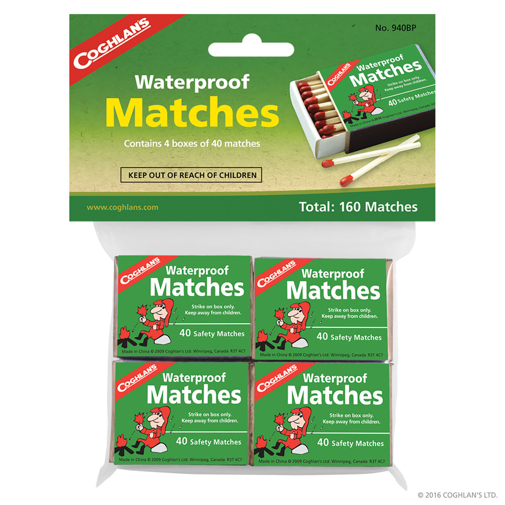 Coghlans Waterproof Matches - 4 boxes Accessories Coghlans- The Cabin Depot Off-Grid Off Grid Living Solutions Cabin Cottage Camp Solar Panel Water Heater Hunting Fishing Boats RVs Outdoors