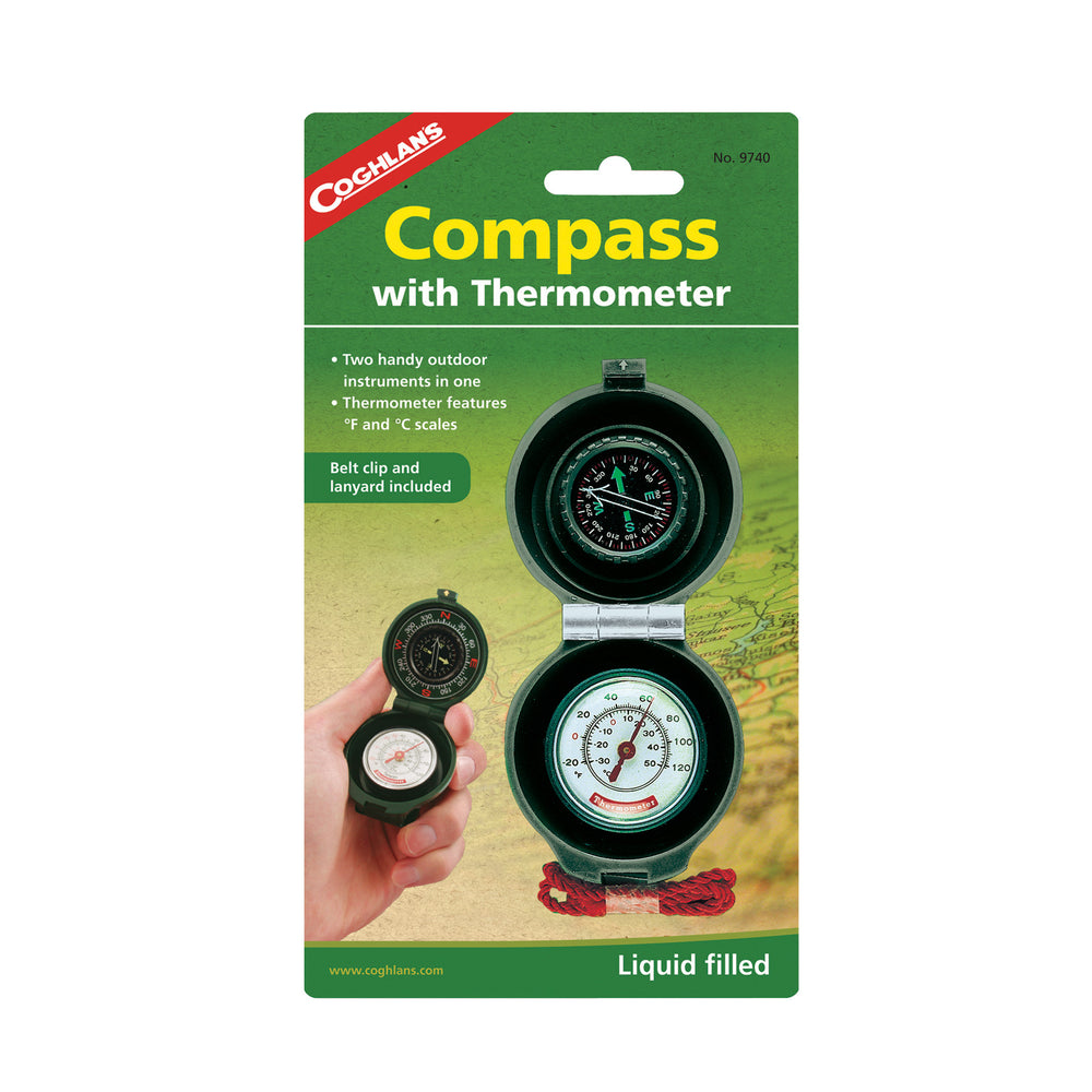 Coghlans Compass With Thermometer Camping / Outdoors Coghlans- The Cabin Depot Off-Grid Off Grid Living Solutions Cabin Cottage Camp Solar Panel Water Heater Hunting Fishing Boats RVs Outdoors