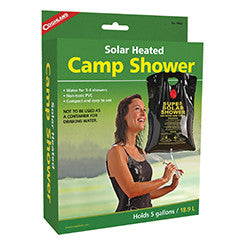 Coghlans Solar Heated Camp Shower Accessories Coghlans- The Cabin Depot Off-Grid Off Grid Living Solutions Cabin Cottage Camp Solar Panel Water Heater Hunting Fishing Boats RVs Outdoors