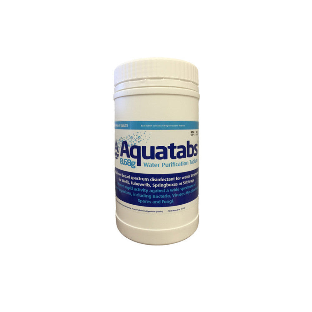 Aquatabs - 8.68g Tablets (60) Water Purification Global Hydration- The Cabin Depot Off-Grid Off Grid Living Solutions Cabin Cottage Camp Solar Panel Water Heater Hunting Fishing Boats RVs Outdoors