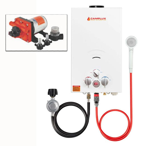 Camplux 10L Portable Tankless Water Heater w/ Seaflo Pump & Strainer