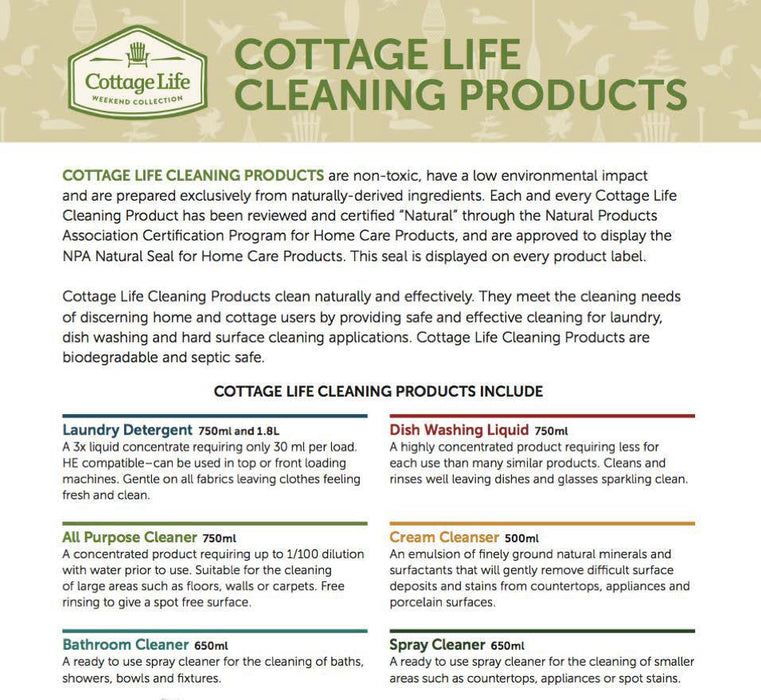 Cottage Life Spray Cleaner 650ml Cleaning Products Bebbington Industries- The Cabin Depot Off-Grid Off Grid Living Solutions Cabin Cottage Camp Solar Panel Water Heater Hunting Fishing Boats RVs Outdoors