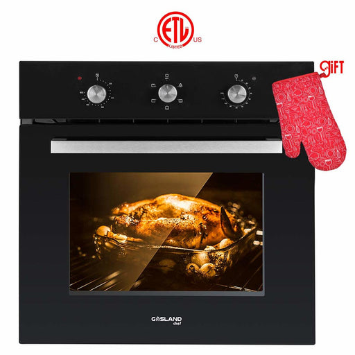 "Gasland Chef ES606MB 24"" Built-in Single Wall Oven, 6 Cooking Function, Full American Black Glass Electric Wall Oven With Cooling Down Fan"