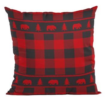 Buffalo Plaid Bear Throw Pillow