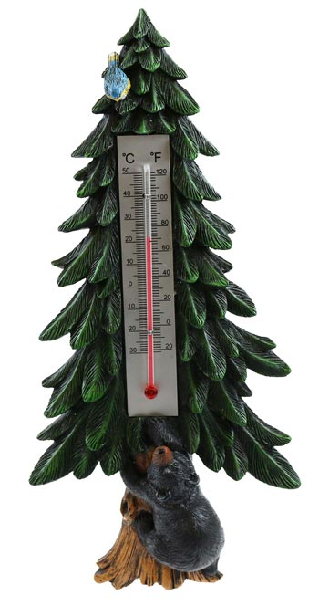 Pine Tree Thermometer with Bear