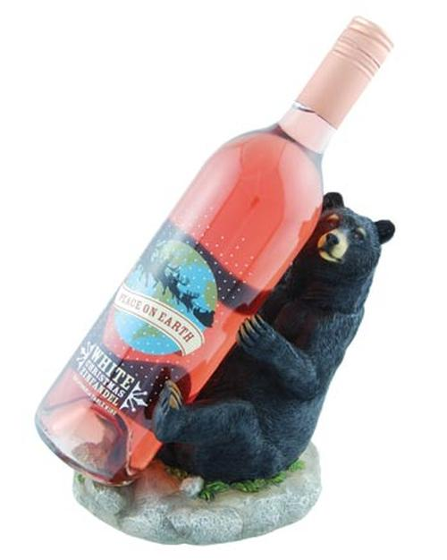 Black Bear Leaning Wine Bottle Holder