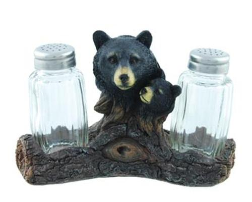 Black Bear Log Salt and Pepper Holder Leisure Wilcor- The Cabin Depot Off-Grid Off Grid Living Solutions Cabin Cottage Camp Solar Panel Water Heater Hunting Fishing Boats RVs Outdoors