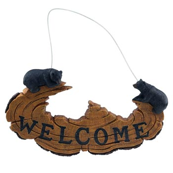 Welcome Cut Log with Bears Sign  The Cabin Depot- The Cabin Depot Off-Grid Off Grid Living Solutions Cabin Cottage Camp Solar Panel Water Heater Hunting Fishing Boats RVs Outdoors