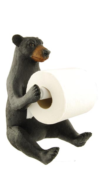 Black Bear Sit Up Toilet Paper Holder