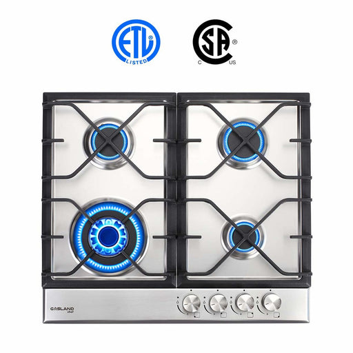 "Gasland Chef GH60SF Built-in Gas Stove Top, Stainless Steel LPG, Natural Gas 24"" Cooktop, 4 Sealed Burners, ETL"
