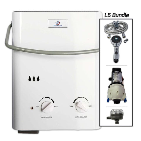 Eccotemp L5 Tankless Water Heater w/ Flojet Pump & Strainer