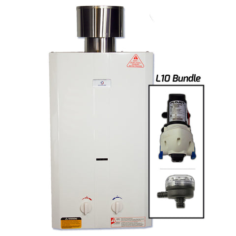 Eccotemp L10 Tankless Water Heater w/ Flojet Pump & Strainer