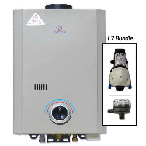 Eccotemp L7 Tankless Water Heater w/ Flojet Pump & Strainer