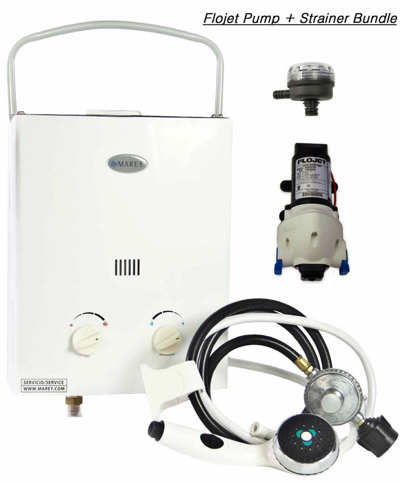 Marey Portable 5L Tankless Water Heater w/ FloJet Pump & Strainer Water Heater Marey- The Cabin Depot Off-Grid Off Grid Living Solutions Cabin Cottage Camp Solar Panel Water Heater Hunting Fishing Boats RVs Outdoors