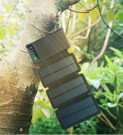 20,000mah power bank and folding solar panel
