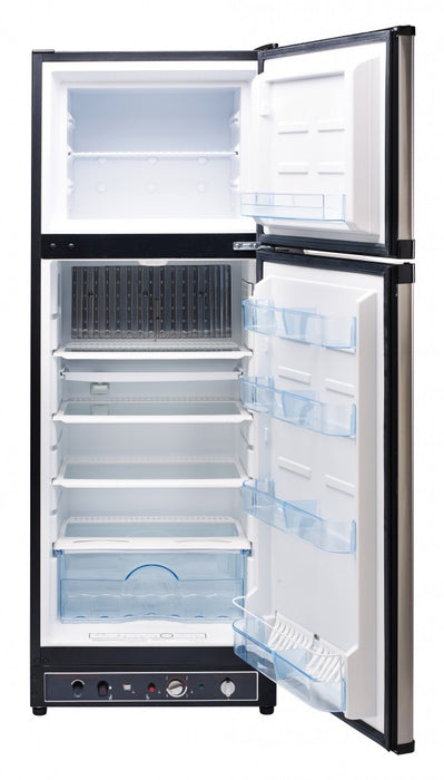 UNIQUE 8 CU/FT Propane Fridge with Freezer - Stainless Steel