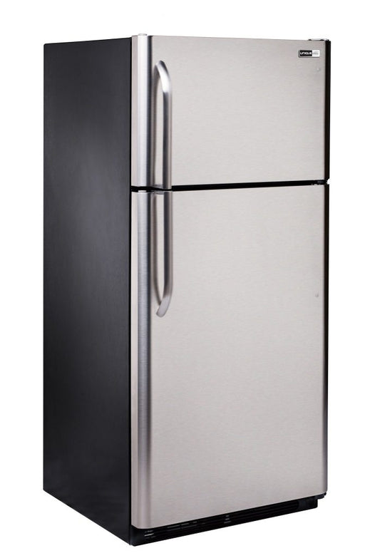 UNIQUE 18 CU/FT Propane Fridge with Freezer - Stainless Steel