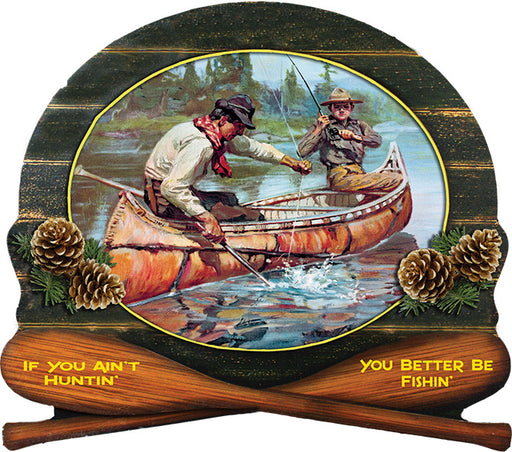 "Wood Sign 15"" x 14"" - Winchester Fisherman"