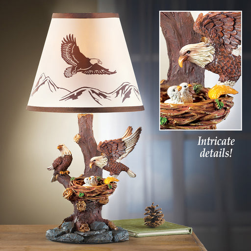 Sculpted Eagle Family Table Lamp Leisure Collections- The Cabin Depot Off-Grid Off Grid Living Solutions Cabin Cottage Camp Solar Panel Water Heater Hunting Fishing Boats RVs Outdoors