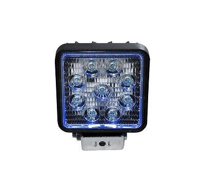 "27 Watt 4"" Square LED Spot Light with Blue Halo"