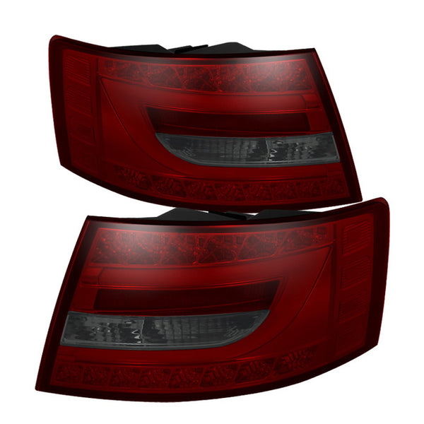 ( Spyder ) Audi A6 05-08 4Dr Sedan Only (Does not fit Quattro)  Light Bar LED Tail Lights - Red Smoke