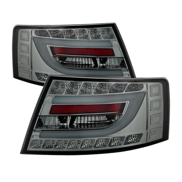 ( Spyder ) Audi A6 05-08 4Dr Sedan Only (Does not fit Quattro) Version 2 Light Bar LED Tail Lights - Smoke