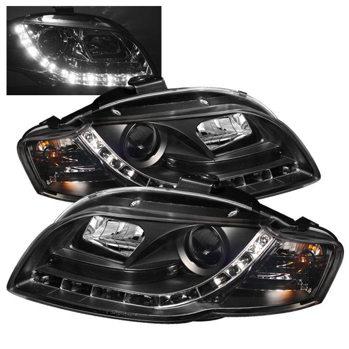 ( Spyder ) Audi A4 06-08 Projector Headlights - Halogen Model Only ( Not Compatible With Xenon/HID Model ) - DRL - Black - High H1 (Included) - Low H1 (Included)