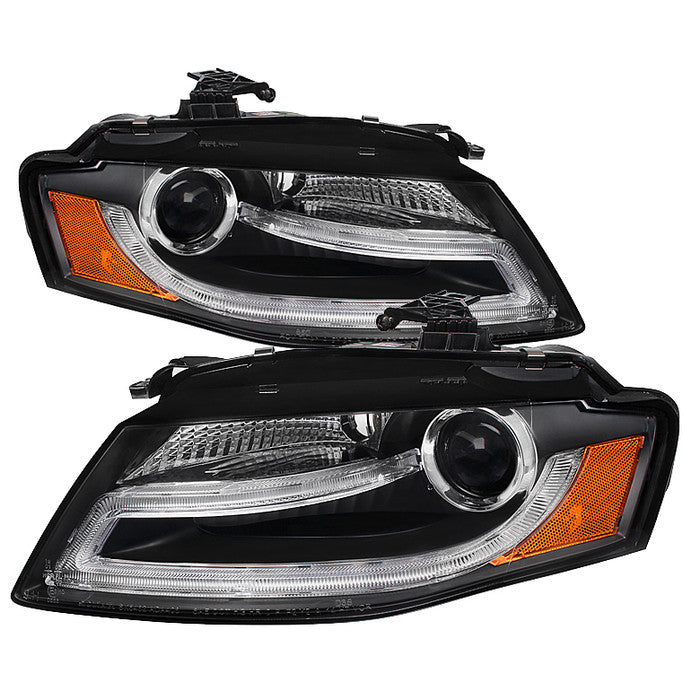 ( Spyder ) Audi A4 09-12 Projector Headlights - Halogen Model Only ( Not Compatible with Xenon/HID Model ) - DRL LED - Black