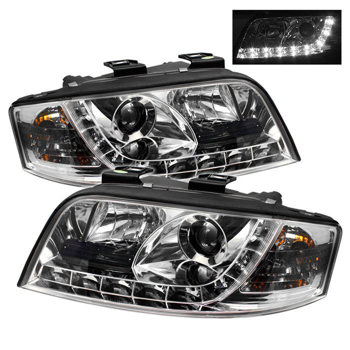 ( Spyder ) Audi A6 02-04 Projector Headlights - Halogen Model Only (not compatible with Xenon/HID Model ) - DRL - Chrome - High H1 (Included) - Low H1 (Included)