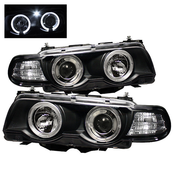 ( Spyder ) BMW E38 7-Series 99-01 Projector Headlights 1PC - Xenon/HID Model Only ( Not Compatible With Halogen Model ) - LED Halo - Black - High H1 - Low D2S (Not Included)