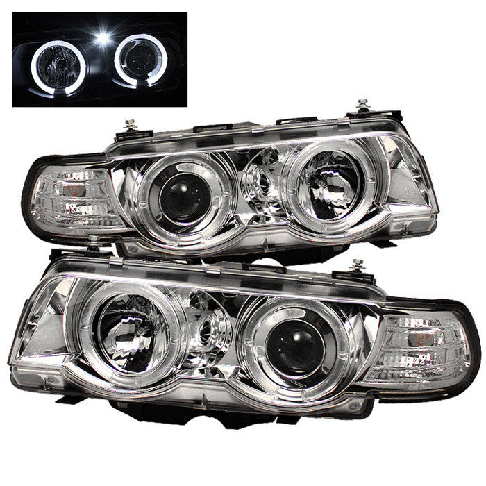 ( Spyder ) BMW E38 7-Series 99-01 Projector Headlights 1PC - Xenon/HID Model Only ( Not Compatible With Halogen Model ) - LED Halo - Chrome - High H1 - Low D2S (Not Included)