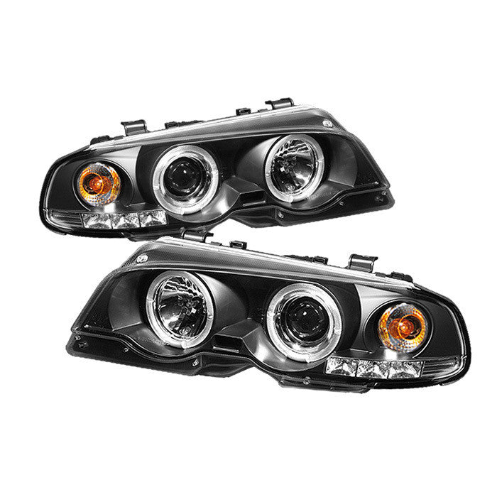 ( Spyder ) BMW E46 3-Series 00-03 2DR / M3 01-06 2DR 1PC Projector Headlights - LED Halo - LED ( Replaceable LEDs ) - Black - High H1 (Included) - Low H1 (Included)