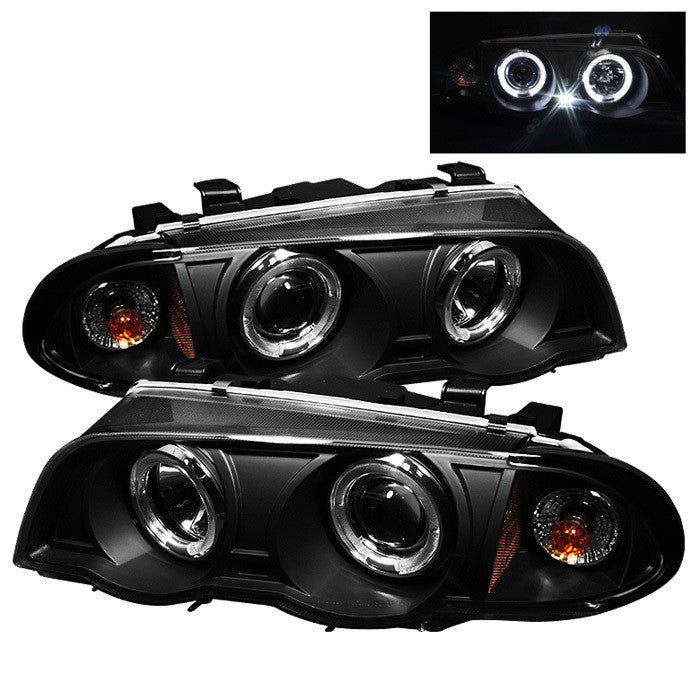 ( Spyder ) BMW E46 3-Series 99-01 4DR Projector Headlights 1PC - LED Halo - Amber Reflector - Black - High H1 (Included) - Low H1 (Included)