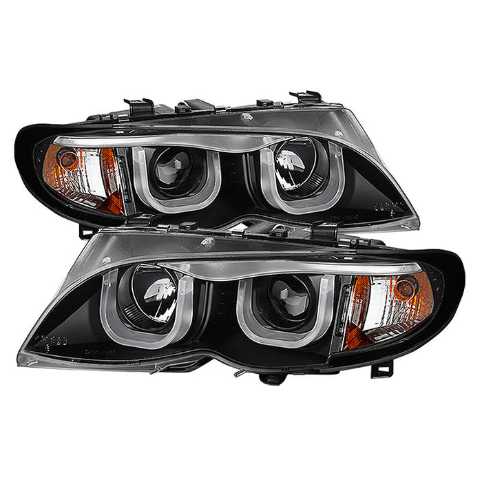 ( Spyder ) BMW E46 3-Series 02-05 4DR Projector Headlights 1PC - 3D Halo - Black - High H1 (Included) - Low H7 (Not Included)