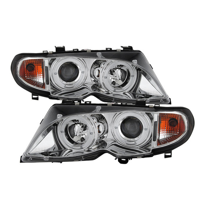 ( Spyder ) BMW E46 3-Series 02-05 4DR Projector Headlights 1PC - LED Halo - Chrome - High H1 (Included) - Low H7 (Included)