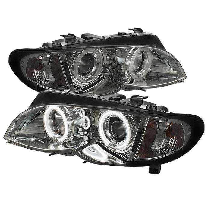 ( Spyder ) BMW E46 3-Series 02-05 4DR Projector Headlights 1PC - CCFL Halo - Smoke - High H1 (Included) - Low H7 (Included)