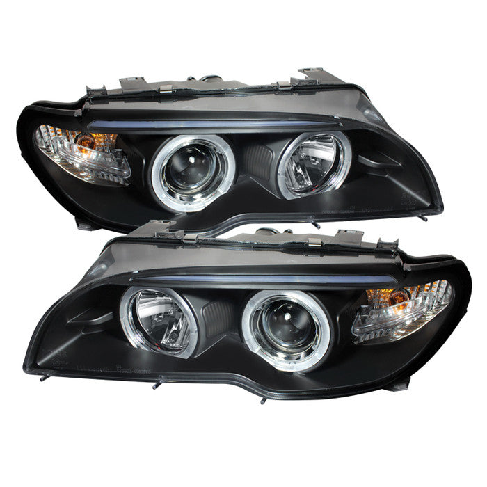 ( Spyder ) BMW E46 3-Series 04-06 2 DR Projector Headlight - Halogen Model Only ( Not Compatible With Xenon/HID Model ) - LED Halo - Black - High H1 (Included) - Low H7 (Included)