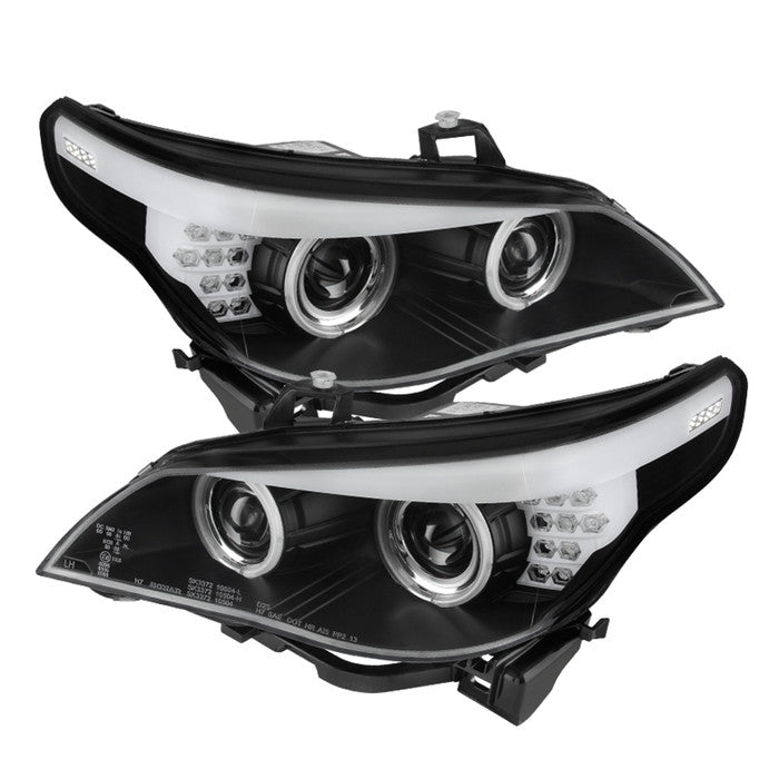 ( Spyder ) BMW E60 5-Series 04-07 Projector Headlights - Halogen Model Only ( Not Compatible With Xenon/HID Model ) - CCFL Halo - Black