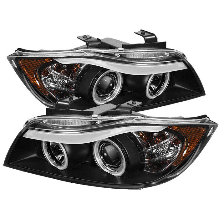 ( Spyder ) BMW E90 3-Series 06-08 4DR Projector Headlights - CCFL Halo -Replaceable Eyebrow Bulb - Black- High H1 (Included) - Low H7 (Included)