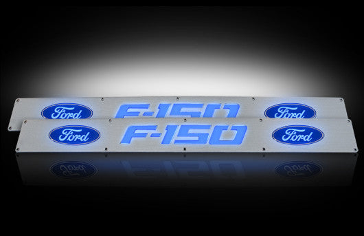 (09-14 F-150) RECON Blue LED Illuminated Brushed Billet Front Door Sill