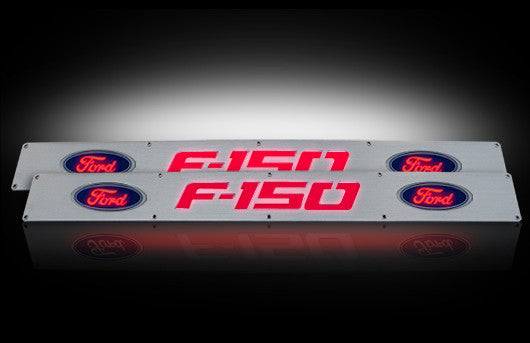 (09-14 F-150) RECON Red LED Illuminated Brushed Billet Front Door Sill